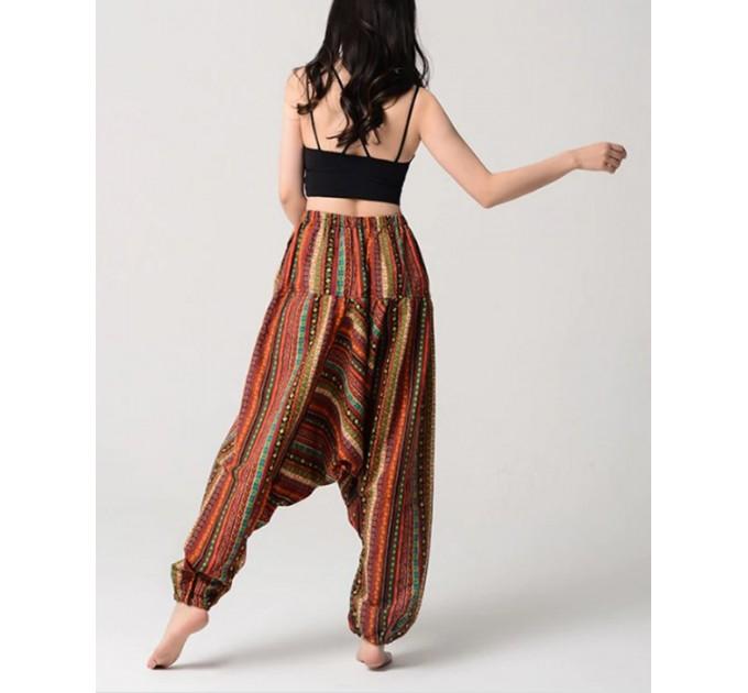 Жіночі брюки з матнею смугасті натуральні