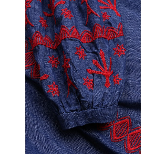 Блузка блакитна з широкими рукавами