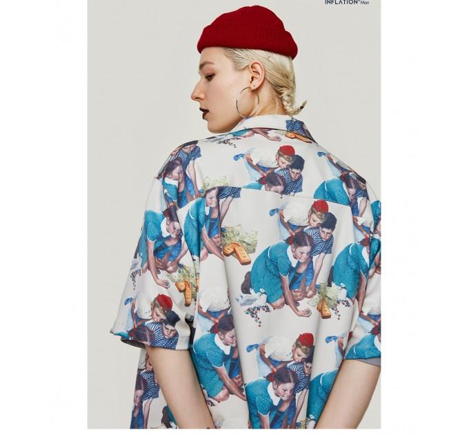Сорочка жіноча стильна з принтом в ретро стилі