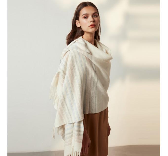 Шарф модний білий шерстяний