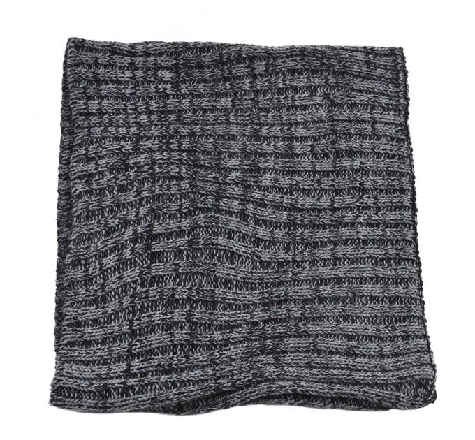 Вязаный шарф-хомут темно-серый