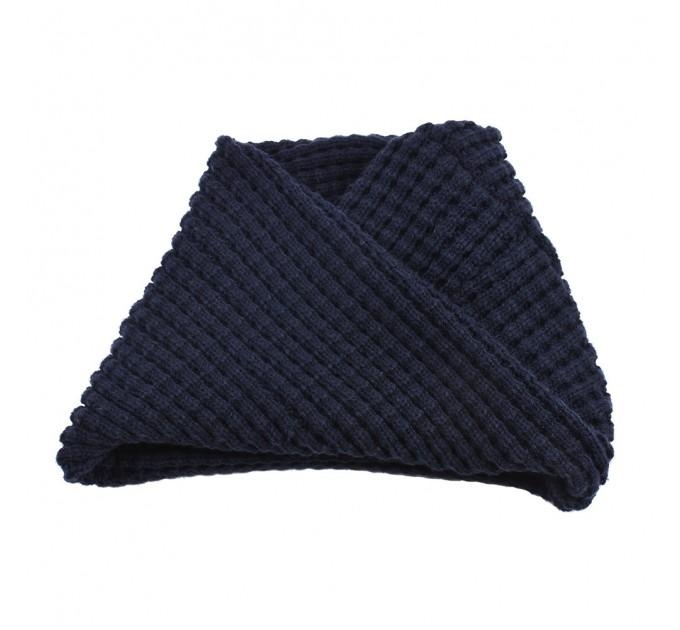 В'язаний шарф-хомут темно-синій