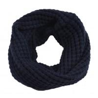 Вязаный шарф-хомут темно-синий