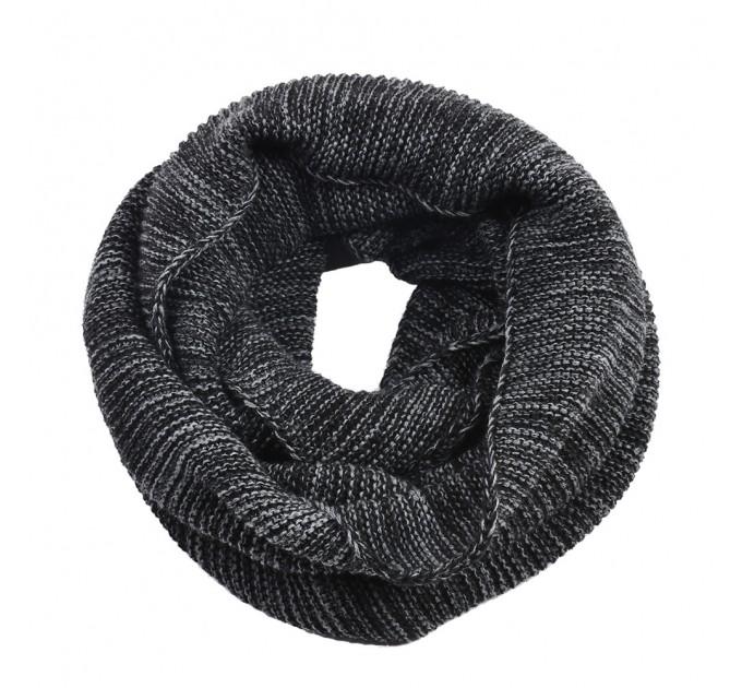 Вязаный шарф-хомут серо-черный