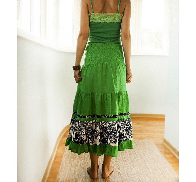 Спідниця довга зелена вишита