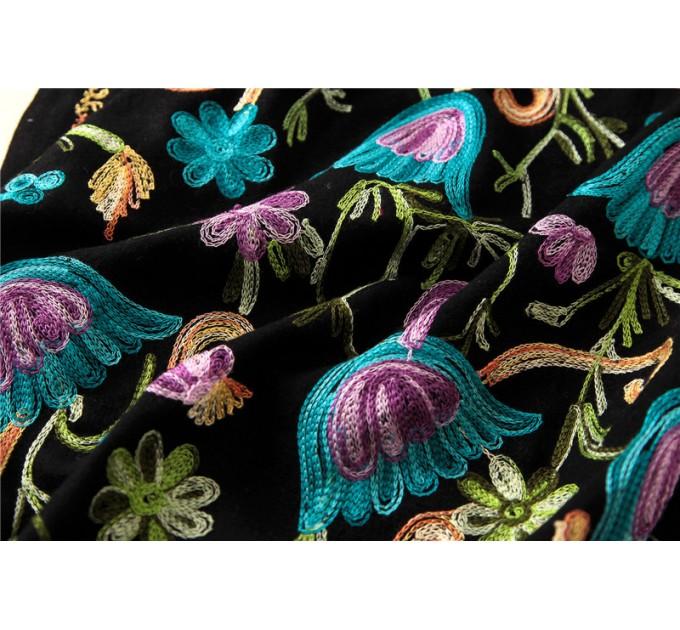 Кашемировый шарф flowers black