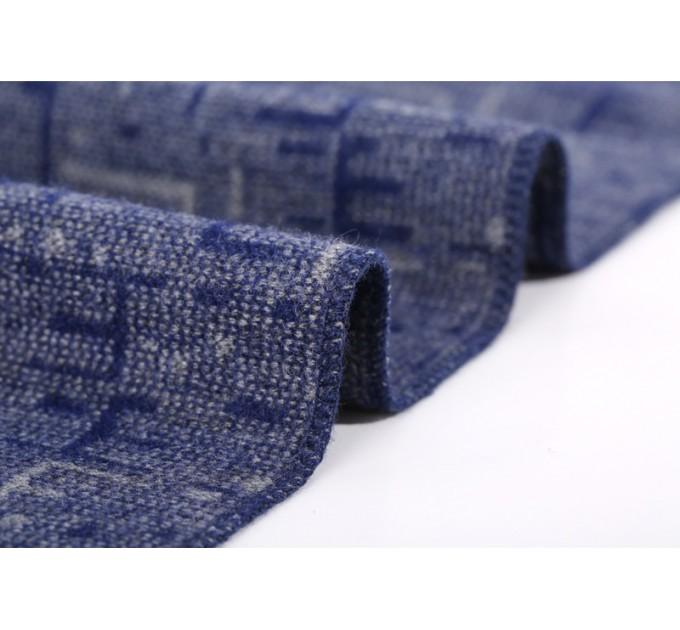 Мужской шарф синий шерстяной