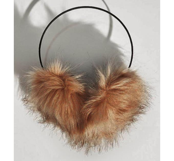 Хутряні навушники коричневі