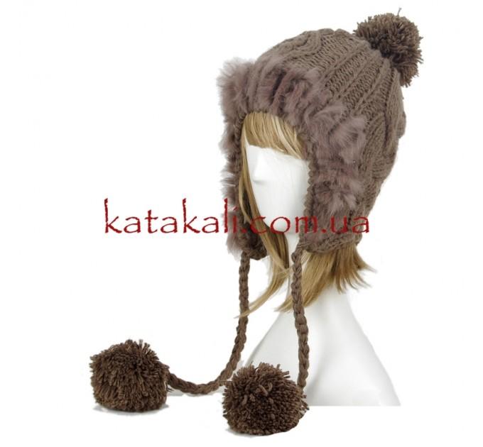 шапка женская с помпонами black