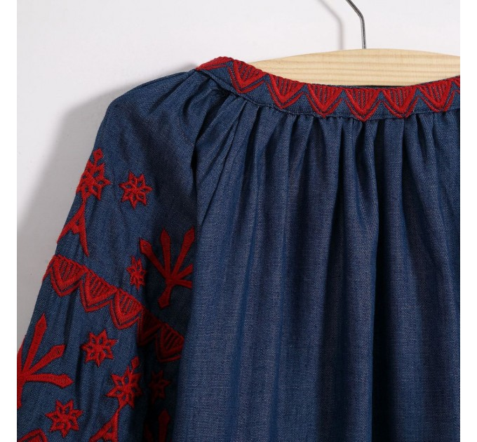 Літня блузка з  рукавом ліхтарик синя