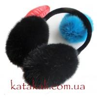 Навушники чорні хутряні