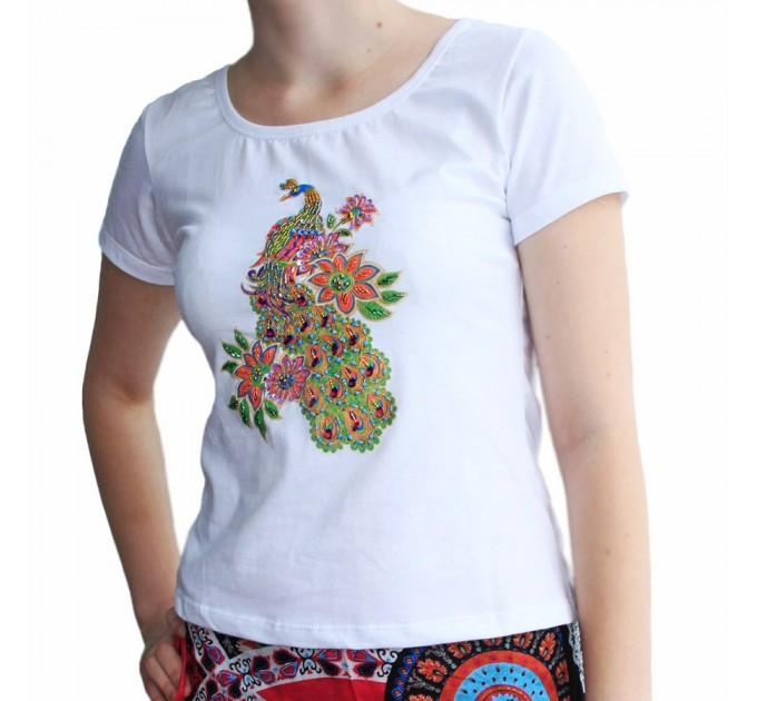 футболка Павлин white