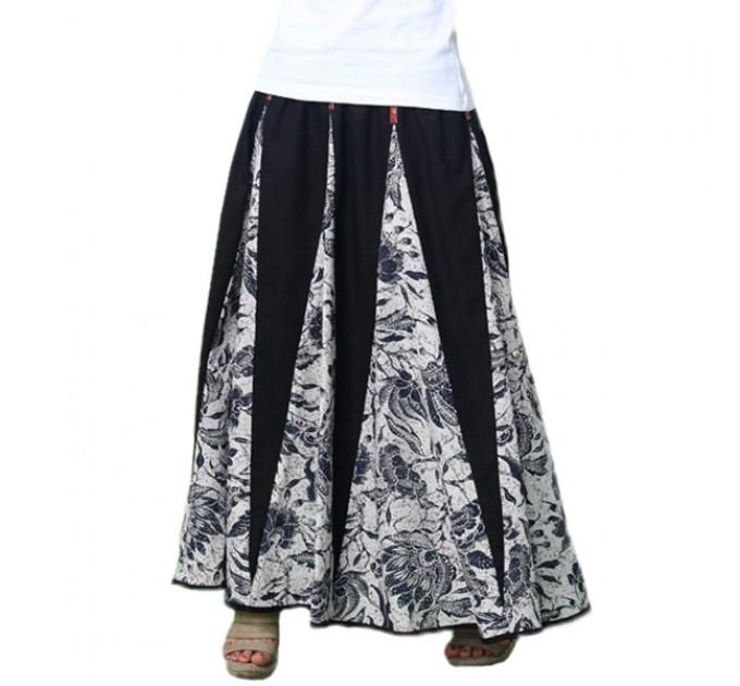 Юбка длинная летняя индийская черно-белая