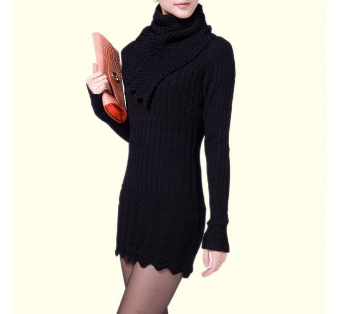Мини платье черное с шарфом