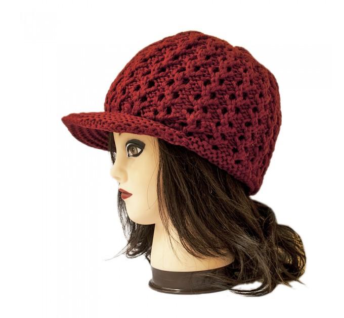 шапка вязаная бордовая