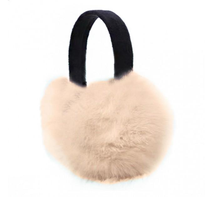 Хутряні навушники кролик crema