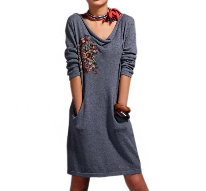 платье Вышитое grey