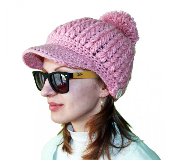 Вязаная шапка Розовая