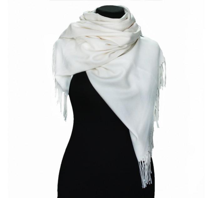 Шарф жіночий білий кашемір