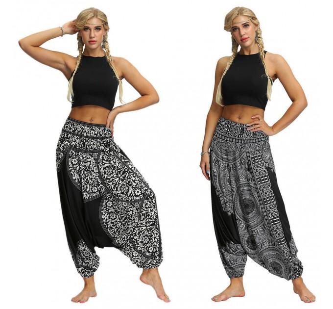 Аладіни штани чорні з білим етнічним візерунком