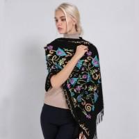 Кашеміровий шарф чорний з квітами