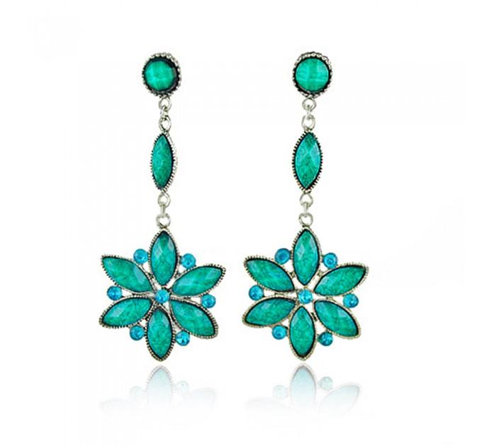 Сережки в формі квітки Даліда blue