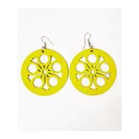 Сережки дерев'яні круглі жовті Тіна