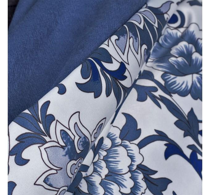 Палантин шовковий подвійний синій