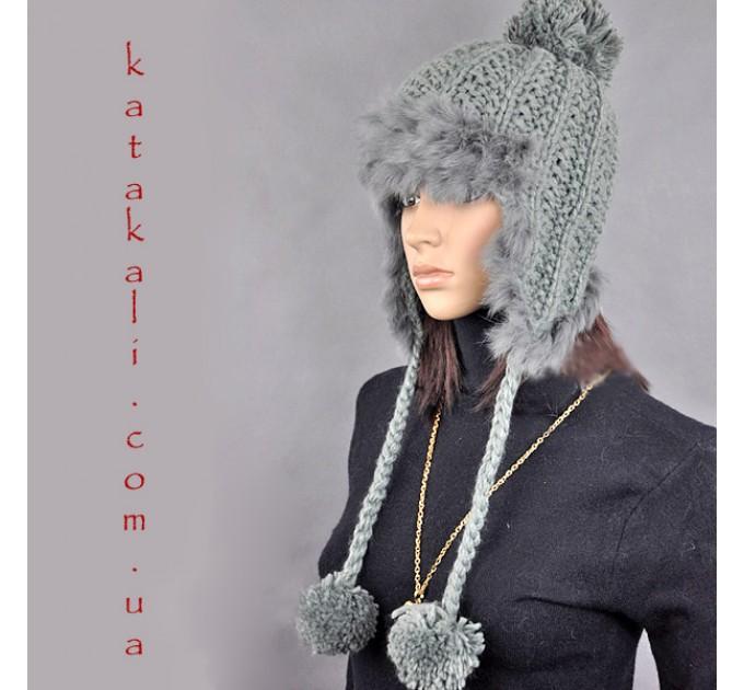 шапка женская с помпонами grey
