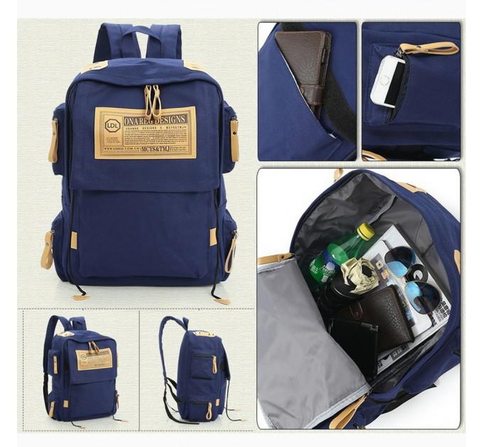 Рюкзак міський синій канвас