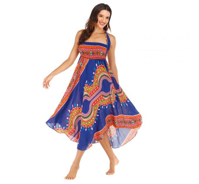 Гарний сарафан синій річний в стилі бохо