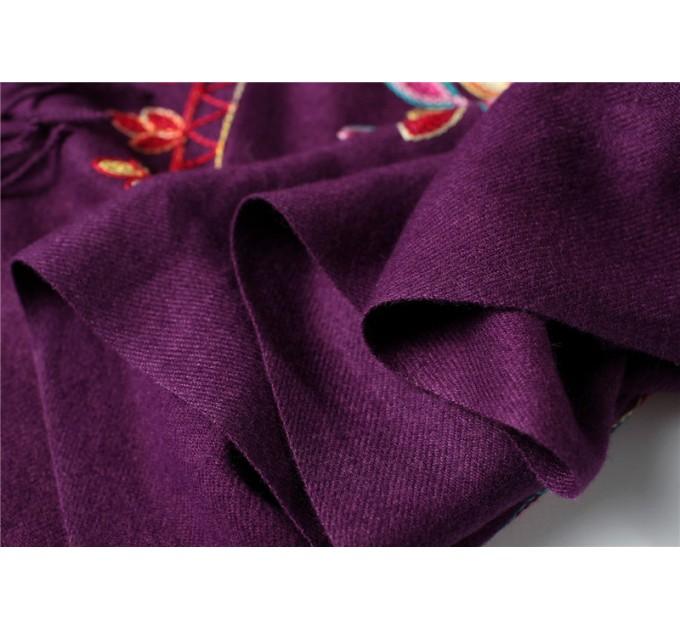 Палантин пурпурный шерстяной
