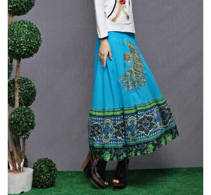 Юбка длинная голубая индийская с павлином