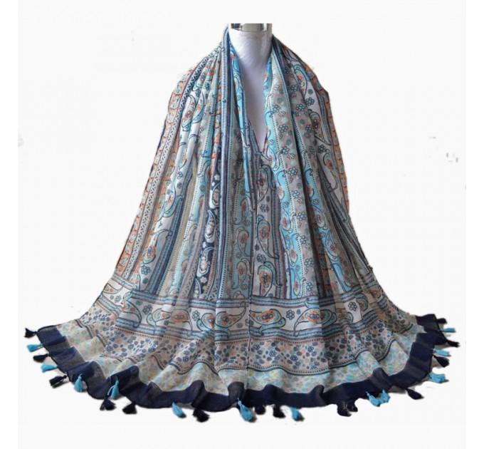 Шарф жіночий богемний блакитний