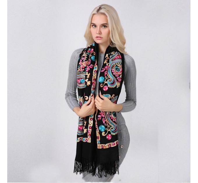 Палантин шарф чорний етнічний