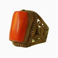 Кольцо женское с кораллом