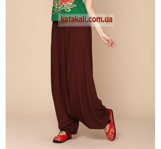 Аладіни штани жіночі однотонні коричневі