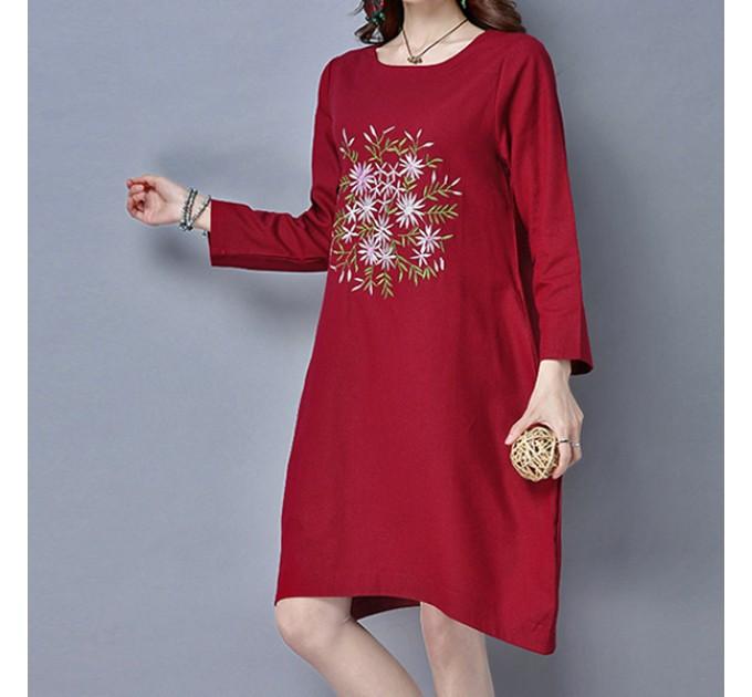 Платье летнее Бордо c вышивкой