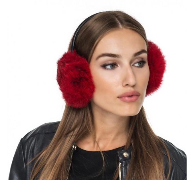 Навушники хутряні червоні