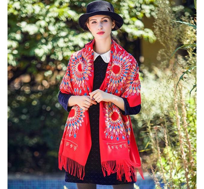 Кашеміровий шарф палантин сонце