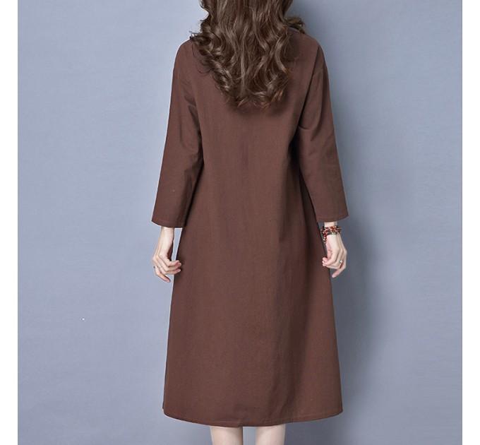 Длинное платье Коричневое