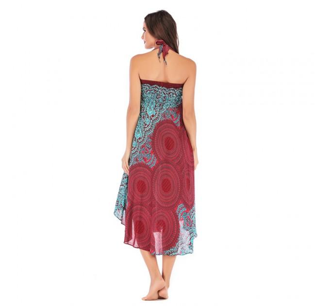 Літній сарафан-спідниця бордовий легкий