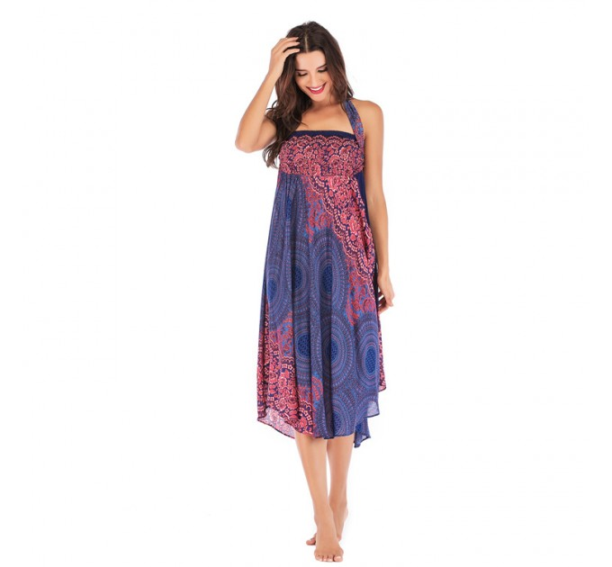 Летний сарафан-юбка синий