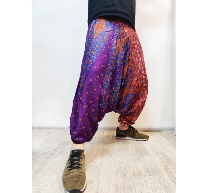 Чоловічі штани алладіни фіолетові для йоги