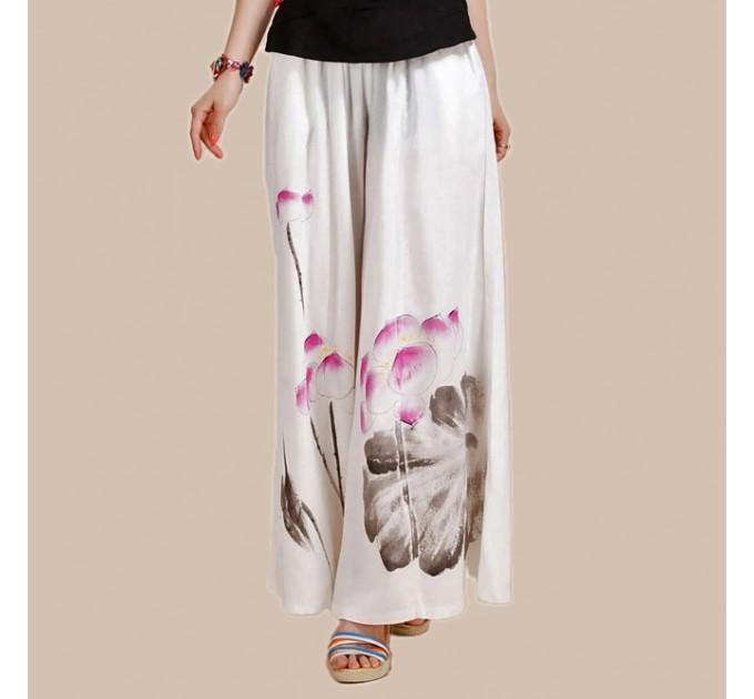 Штаны-юбка льняные белые