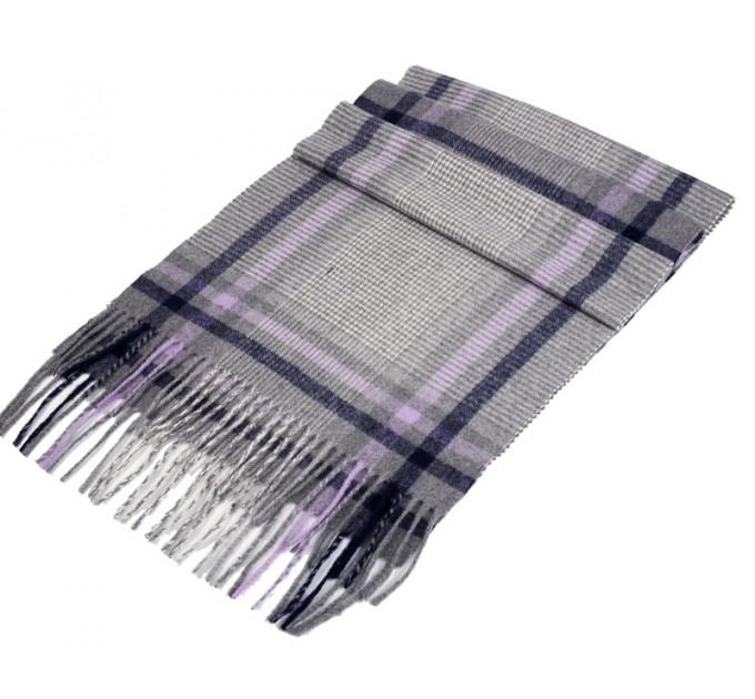 Чоловічий шарф сірий картатий