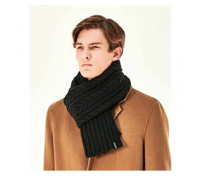 Вязаный шарф косичкой теплый