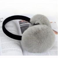 Теплі навушники сірий кролик