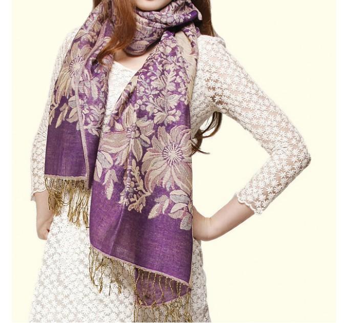 Палантин шарф бузкові квіти