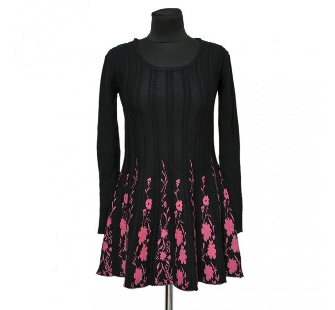 платье черное С Цветами pink